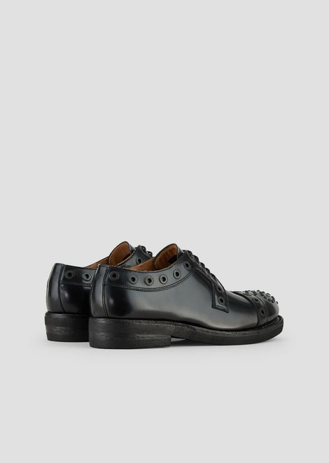 Derby shoes in brushed leather with decorative eyelets and studs