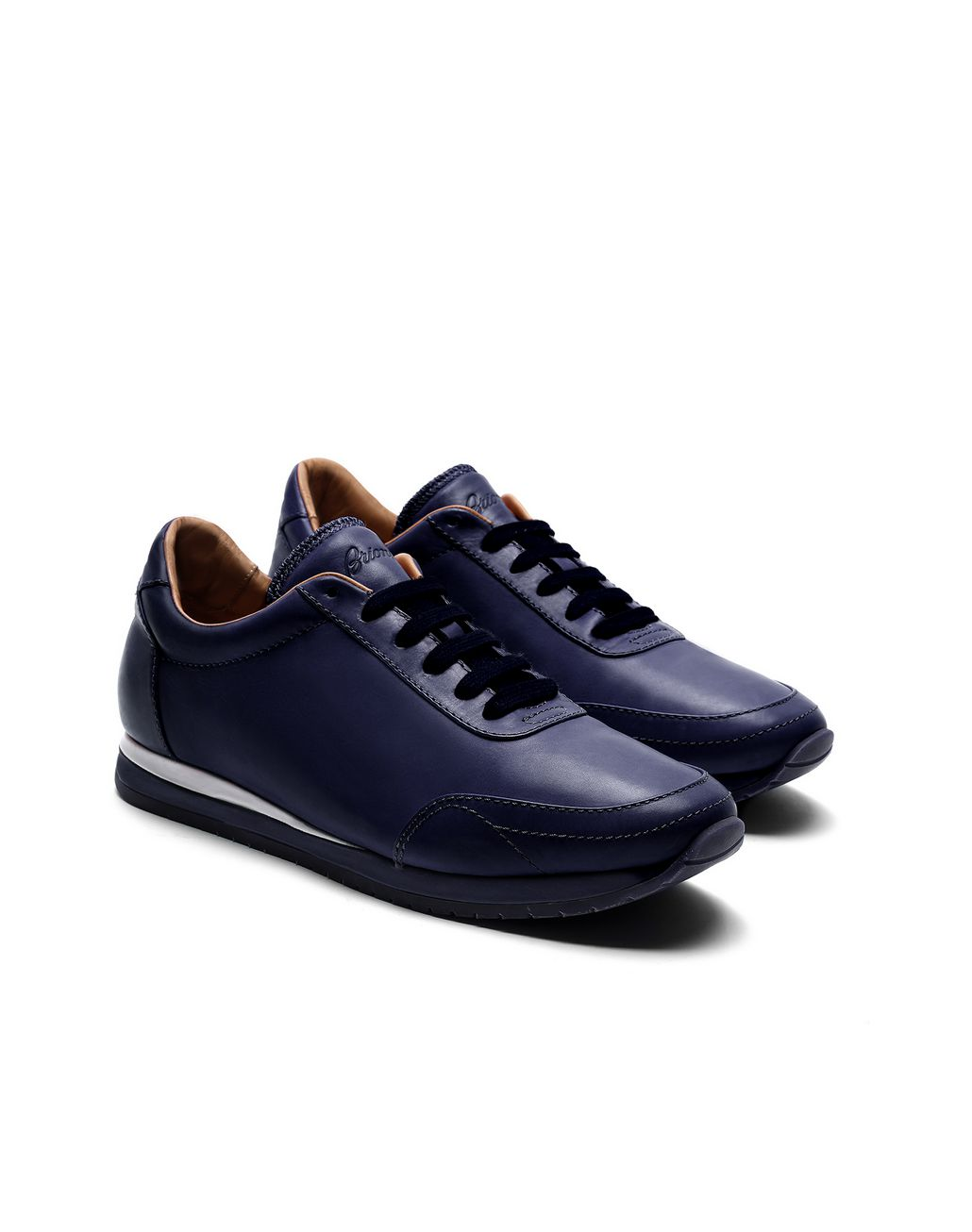BRIONI Navy Blue and White Runner Sneakers Sneakers Man d