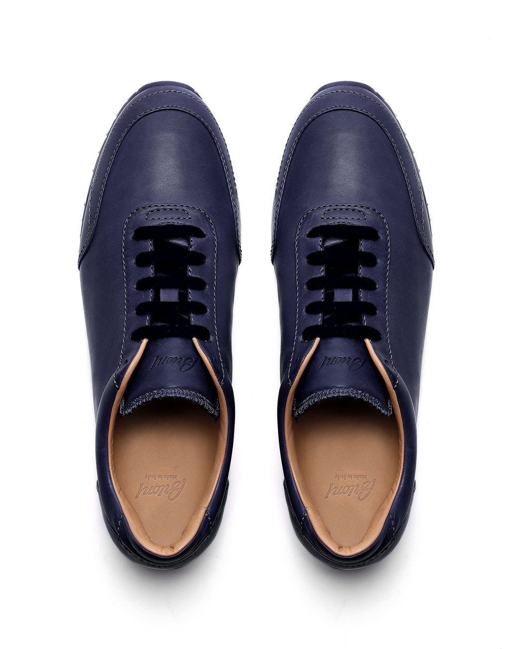BRIONI Navy Blue and White Runner Sneakers Sneakers Man r