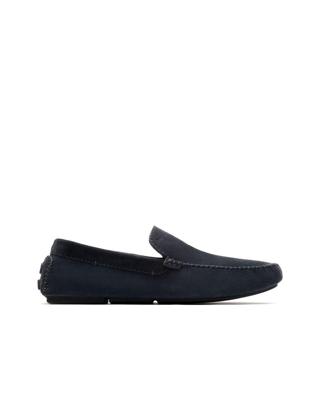 160762a24af9f BRIONI Navy Blue Suede Driver Shoes Loafers Man f ...