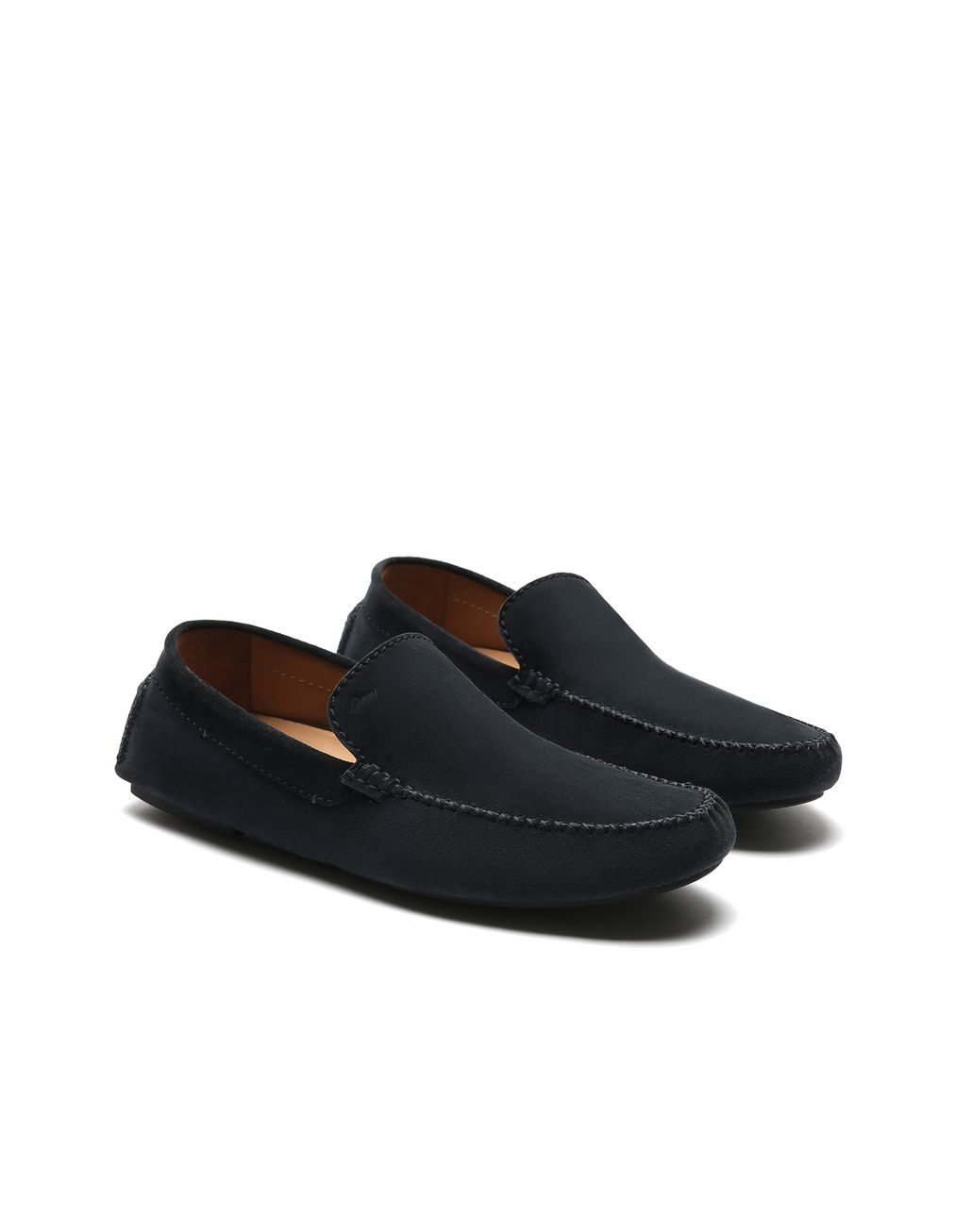 BRIONI Navy Blue Suede Driver Shoes Loafers Man d