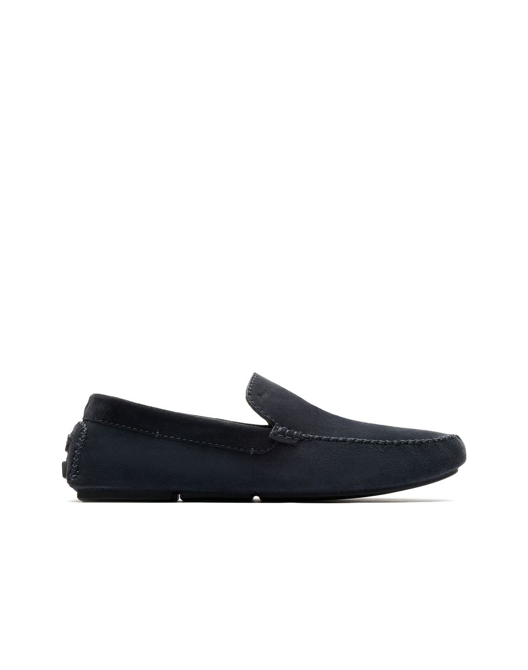 BRIONI Navy Blue Suede Driver Shoes Loafers Man f