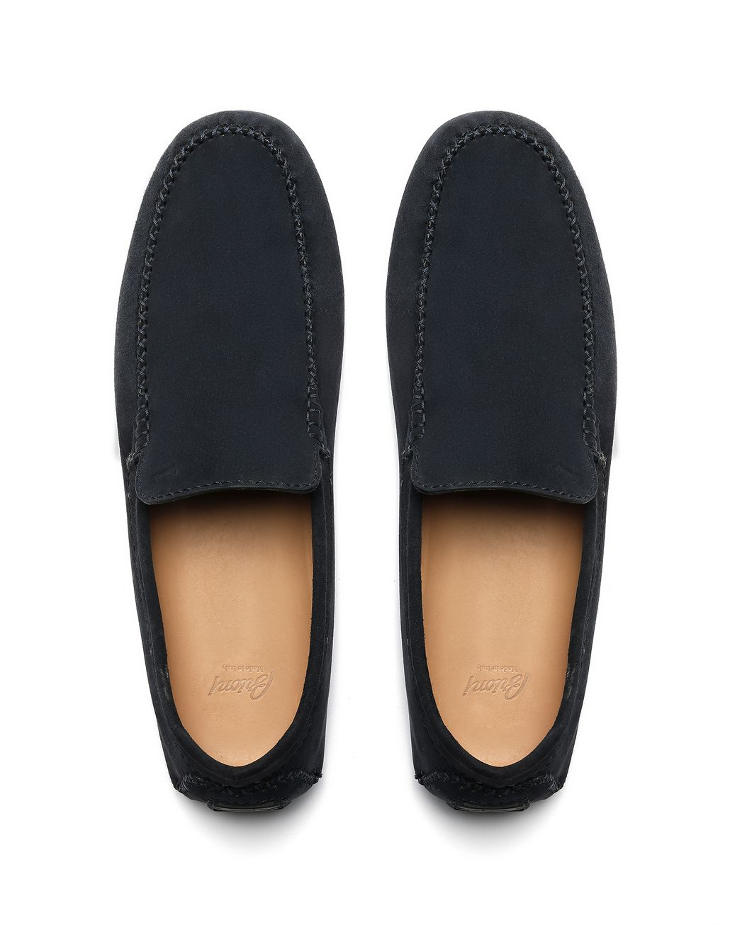 BRIONI Navy Blue Suede Driver Shoes Loafers Man r