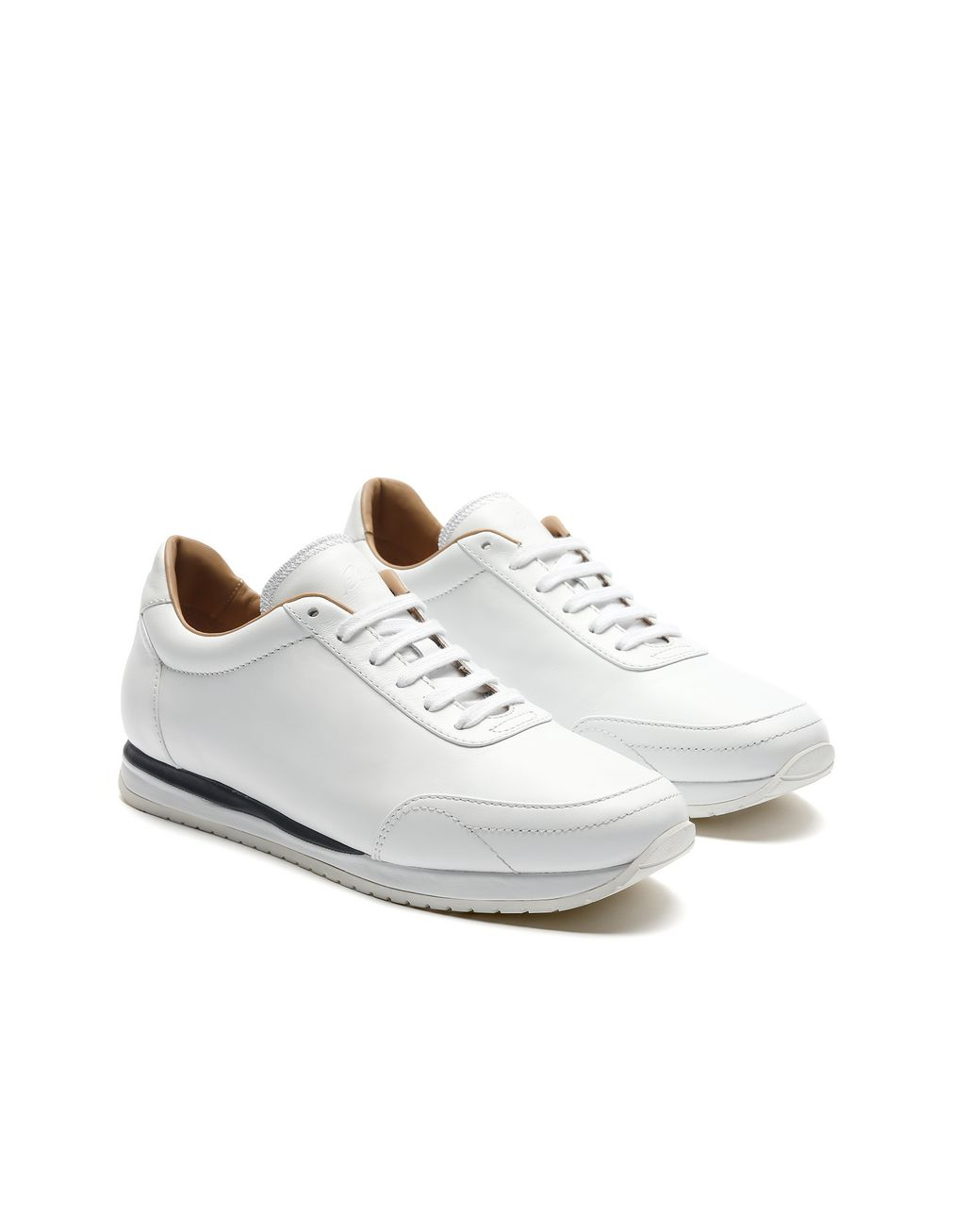 BRIONI White and Navy Blue Runner Sneakers Sneakers [*** pickupInStoreShippingNotGuaranteed_info ***] d