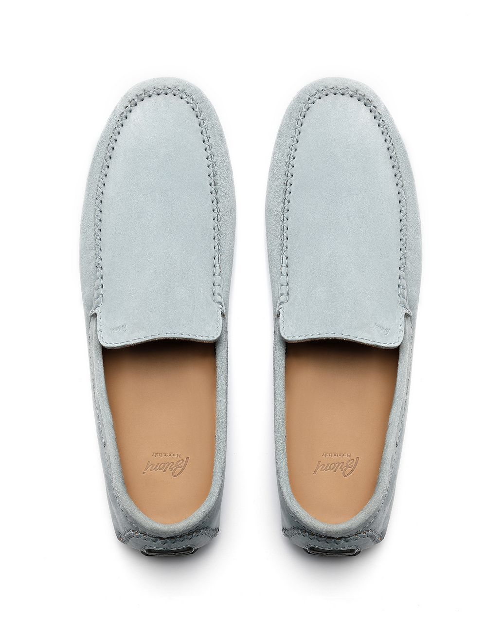 BRIONI Light Blue Suede Driver Shoes Loafers [*** pickupInStoreShippingNotGuaranteed_info ***] r
