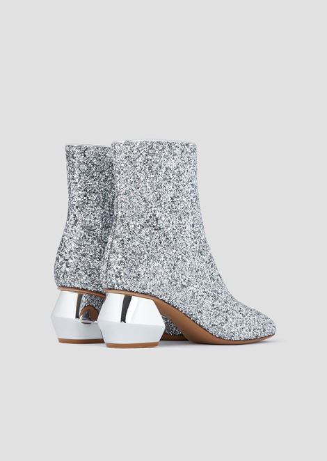 Glitter ankle boots with chrome-plated, hexagonal heel