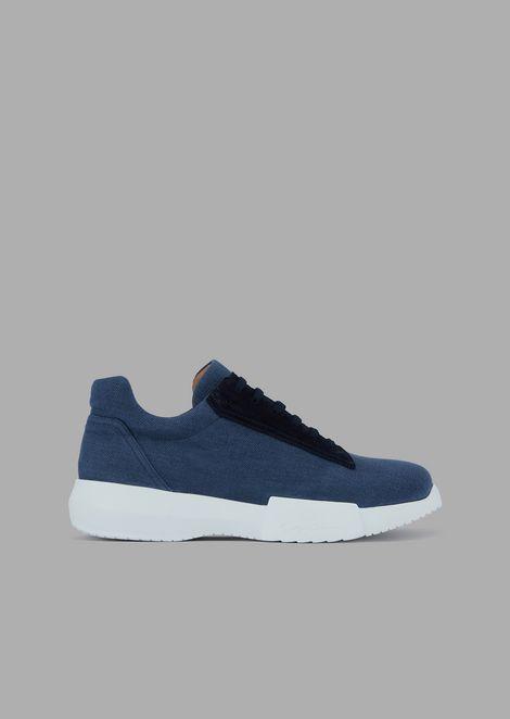 Stoff-Sneakers mit Details aus Veloursleder und hoher Sohle