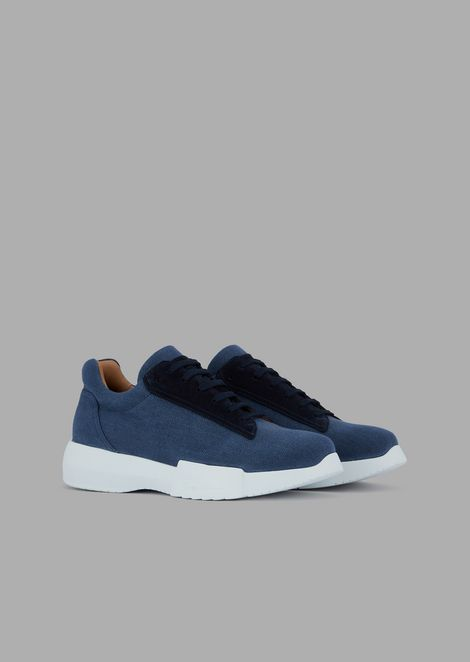 Fabric sneakers with suede detail and thick sole