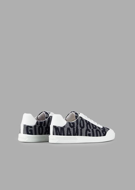 Leather and fabric sneakers with chevron motif and lettering