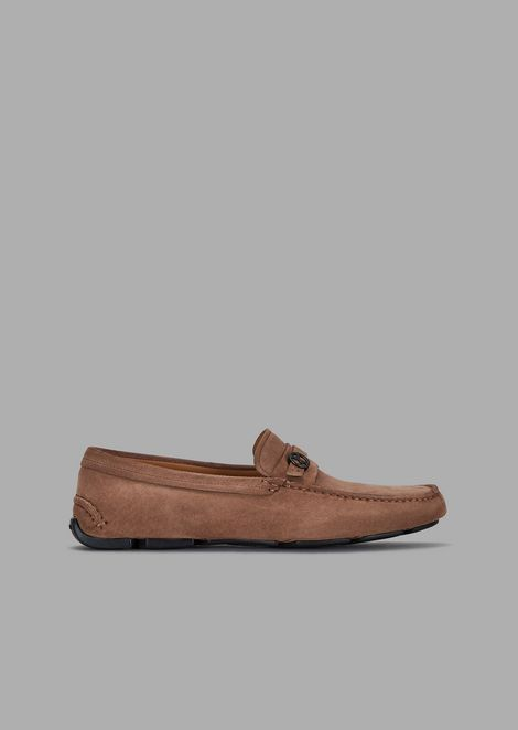 Driver moccasins in suede with logo detail