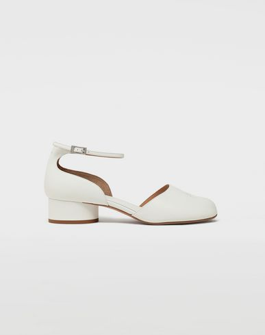 SHOES Tabi leather ankle strap shoes White