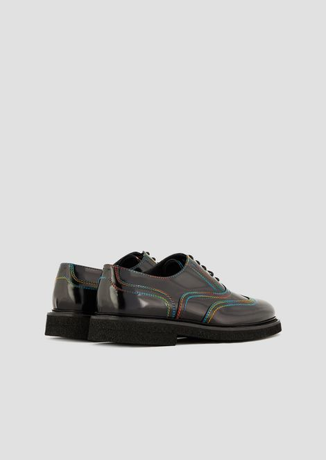Lace-up Derby shoes in abraded leather with multicolor stitching