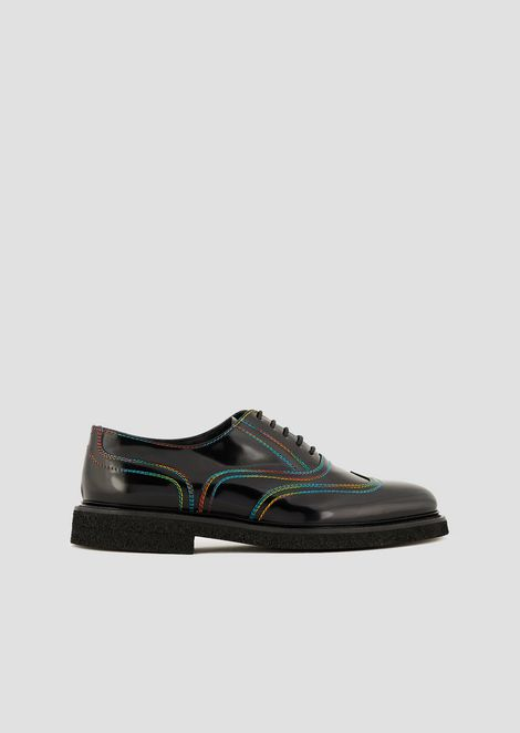Lace-up Derby shoes in abraded leather with multi colour stitching 9dc9178050d