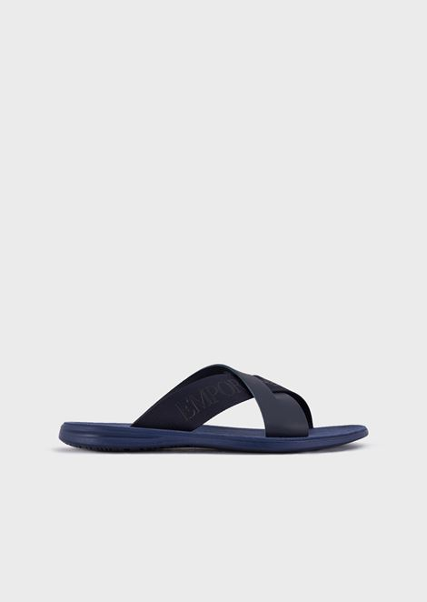 Leather slides with criss-crossed straps and Emporio Armani logo