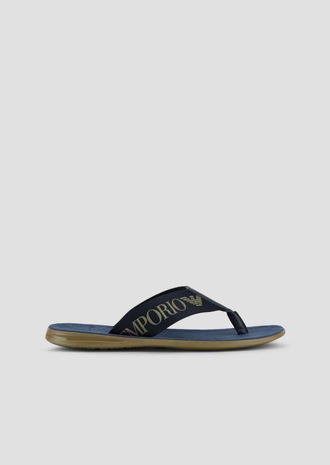 Fabric flip-flops with straps and tone logo