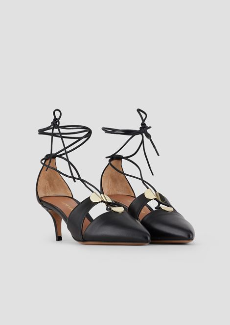 Cherie nappa leather pumps with laced ankles and metal details