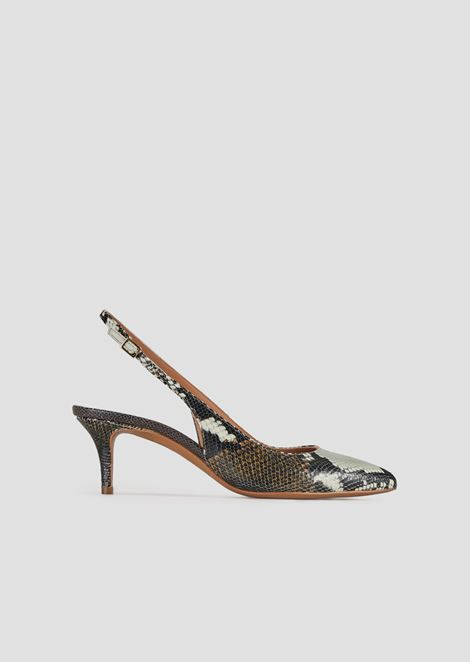 Slingback court shoes in baby batik viper leather