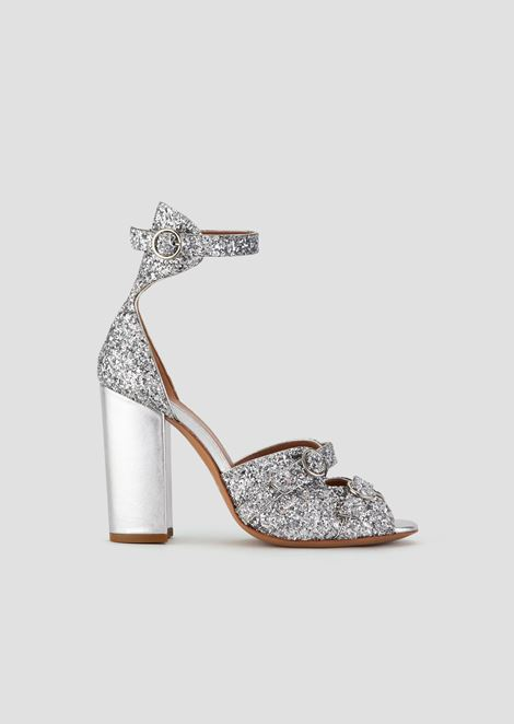 Sandals in glitter nappa leather with metallised heel