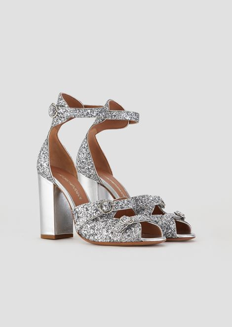 Sandals in glitter nappa leather with metallic heel