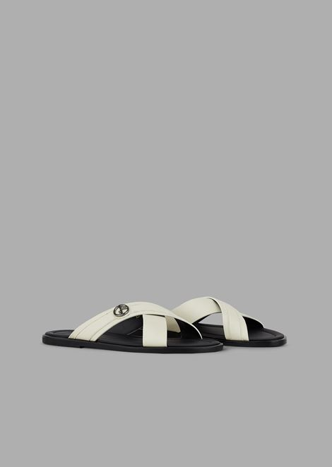 Slides with interwoven straps in leather