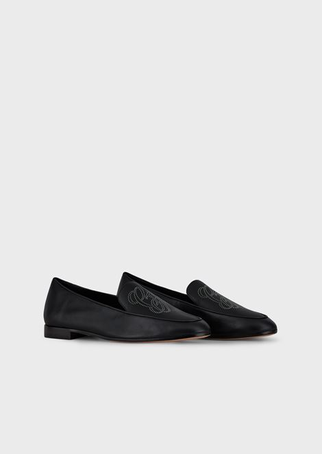 Leather loafers with punctured logo