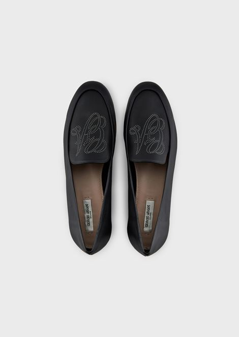 Leather moccasins with perforated logo