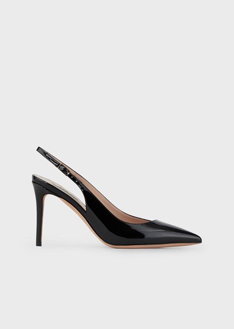 Patent leather slingbacks with asymmetric top line