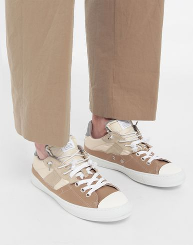 SHOES Spliced low top sneakers Beige