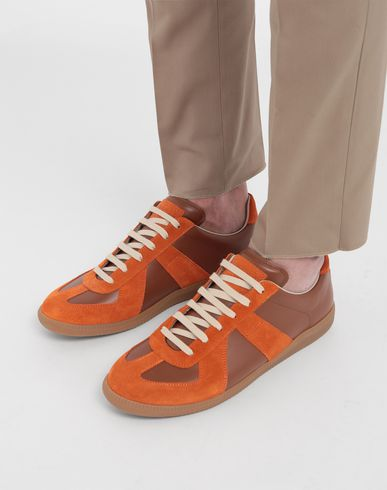SHOES Replica low top calfskin and suede sneakers