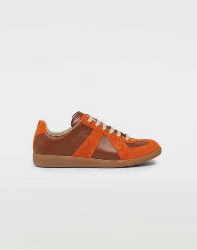 Replica low top calfskin and suede sneakers