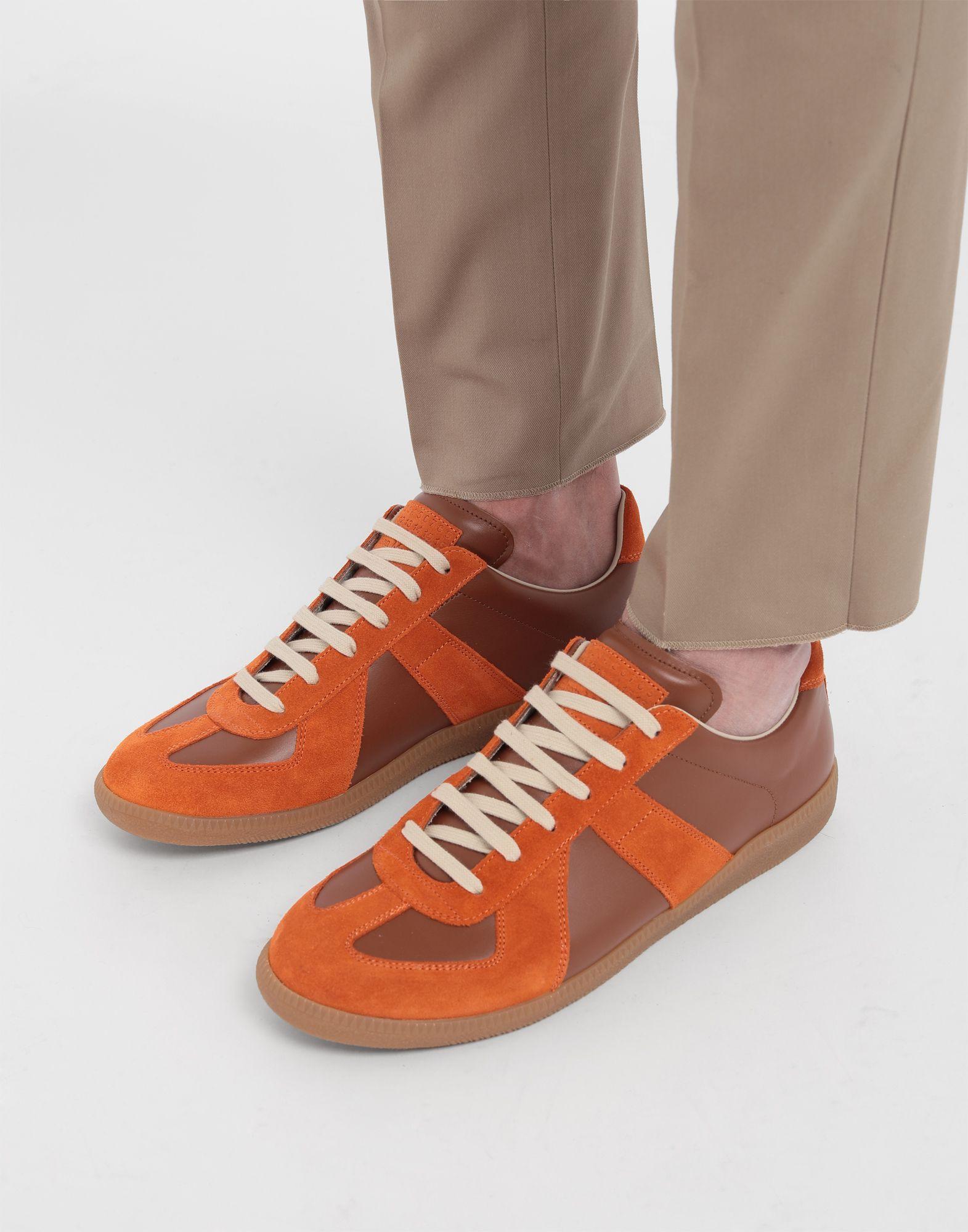 MAISON MARGIELA Replica low top calfskin and suede sneakers Sneakers Man b