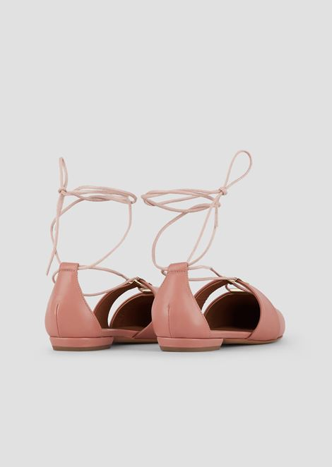 Cherie nappa leather ballet flats with laced ankles and metal details