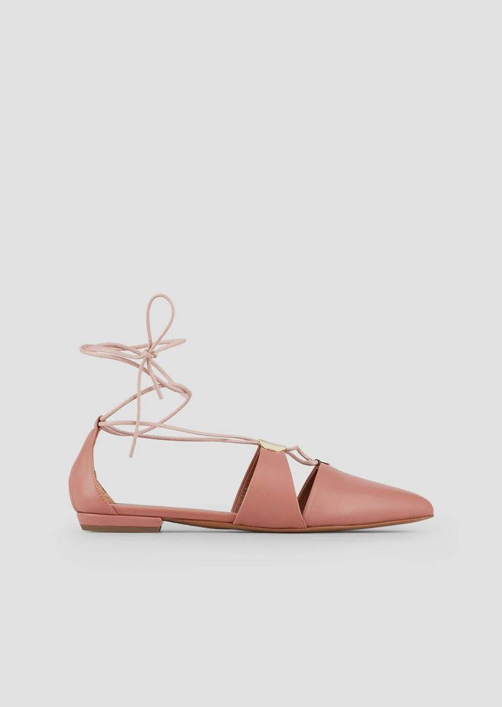 5583f5e1d0bf4 Cherie nappa leather ballet flats with laced ankles and metal details |  Woman | Emporio Armani