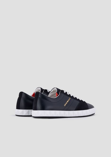 Sneakers in soft leather and suede with three-dimensional sole