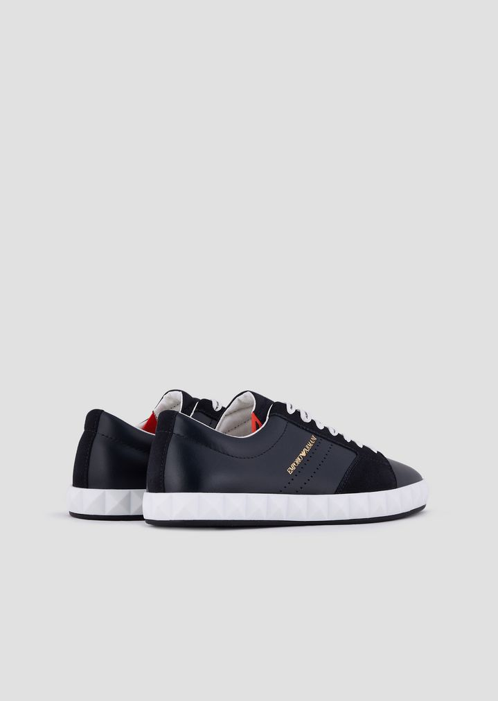 e7a858a02efbe ... Sneakers in soft leather and suede with three-dimensional sole. EMPORIO  ARMANI