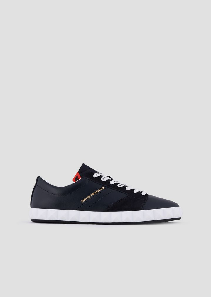 7b61cd92e91b2 Sneakers in soft leather and suede with three-dimensional sole | Man |  Emporio Armani
