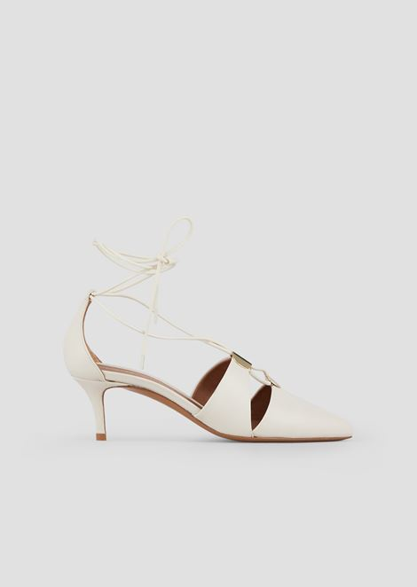 Cherie nappa leather court shoes with laced ankles and metal details