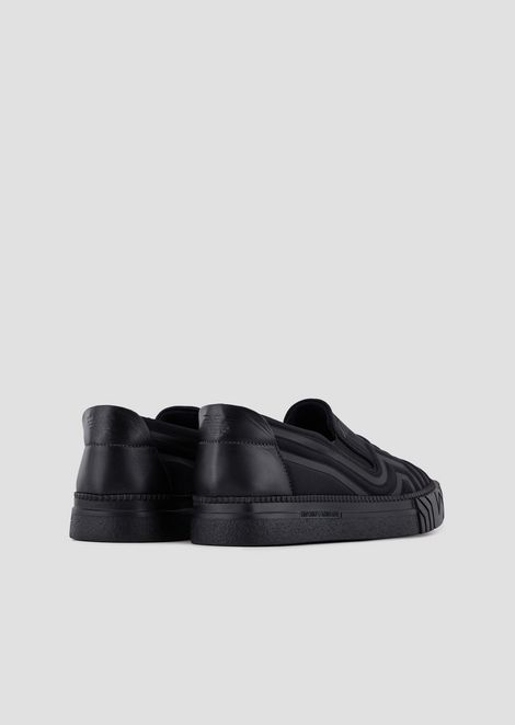 Leather slip-ons with logo motif
