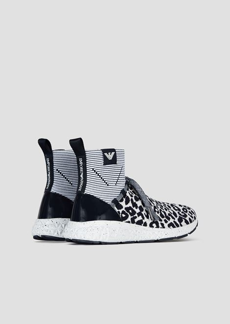 Mesh sock sneakers with patent leather details and animal print