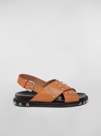 Marni Criss-cross fussbett in brown studded calfskin Woman