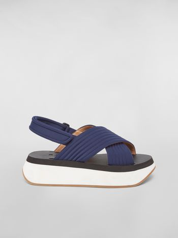 Marni Wedge sandal in techno fabric blue Woman f