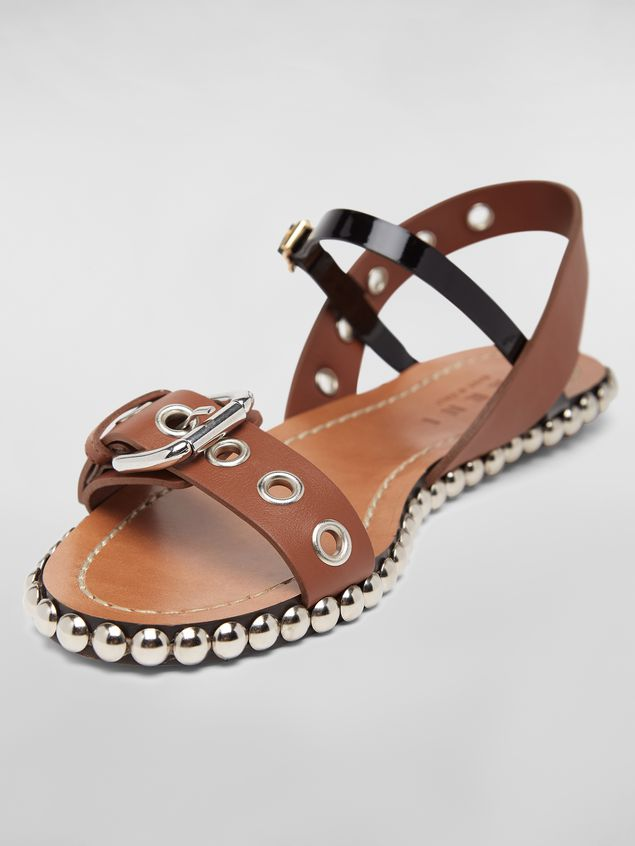 Marni Buckled and studded sandal in smooth leather Woman - 5