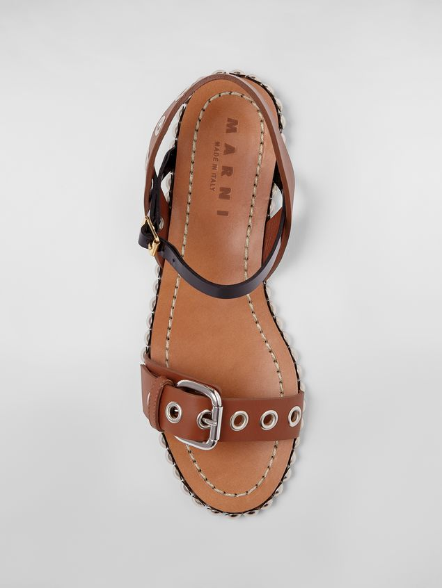 Marni Buckled and studded sandal in smooth leather Woman - 4