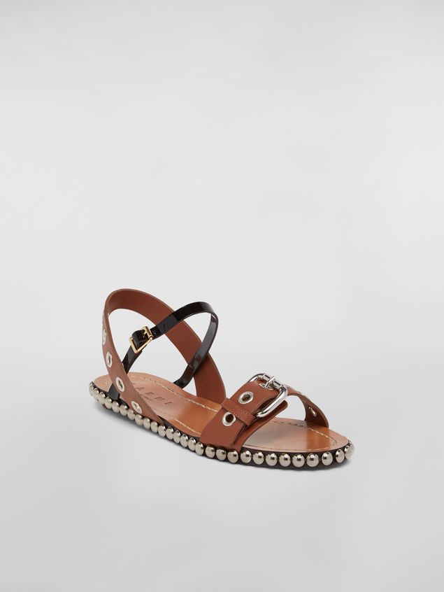 8eb8420fa4ca ... Marni Buckled and studded sandal in smooth leather Woman - 2 ...