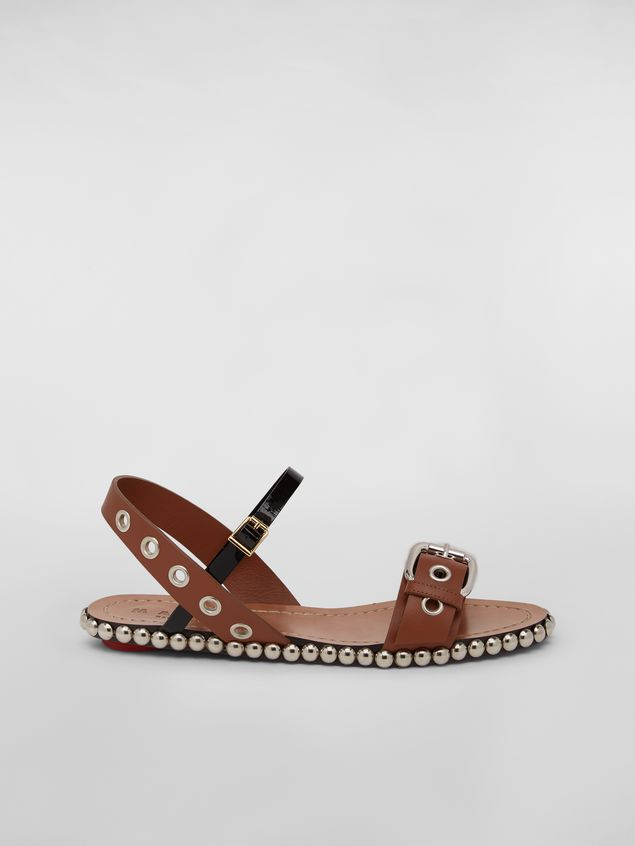 Marni Buckled and studded sandal in smooth leather Woman - 1