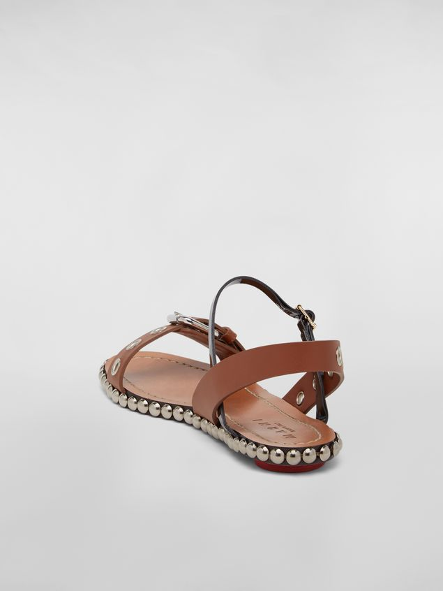 Marni Buckled and studded sandal in smooth leather Woman - 3
