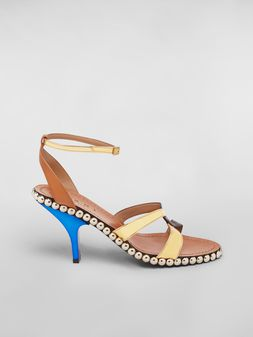 Marni Studded criss-cross sandal in leather Woman