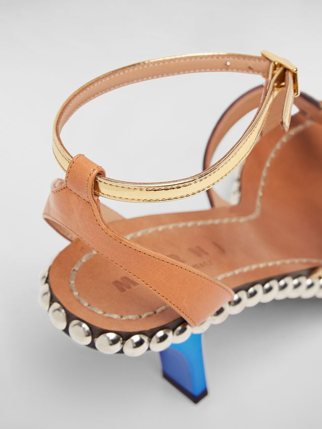 Marni Studded criss-cross sandal in leather Woman - 5