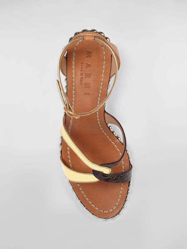 Marni Studded criss-cross sandal in leather Woman - 4