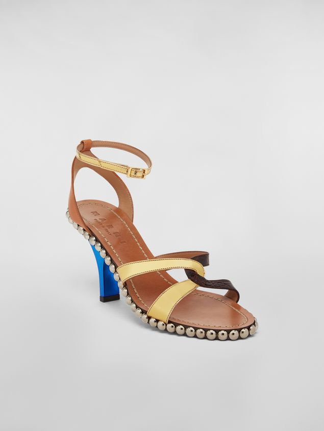 Marni Studded criss-cross sandal in leather Woman - 2